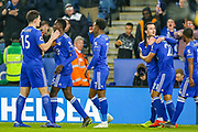 Goal Leicester City midfielder Demarai Gray (7) scores a goal and celebrates with his team mates 1-0 during the Premier League match between Leicester City and Brighton and Hove Albion at the King Power Stadium, Leicester, England on 26 February 2019.