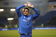 Brighton & Hove Albion winger Anthony Knockaert (11) with the Sky Bet man of the match trophy during the EFL Sky Bet Championship match between Brighton and Hove Albion and Derby County at the American Express Community Stadium, Brighton and Hove, England on 10 March 2017.