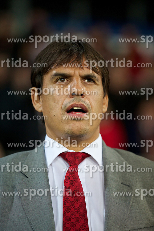 11.10.2013, City Stadion, Cardiff, WAL, FIFA WM Qualifikation, Wales vs Mazedonien, Gruppe A, im Bild Wales' manager Chris Coleman before the FIFA World Cup Qualifier Group A Match between Wales and Macedonia at the City Stadium, Cardiff, Wales on 2013/10/11. EXPA Pictures © 2013, PhotoCredit: EXPA/ Propagandaphoto/ David Rawcliffe<br /> <br /> ***** ATTENTION - OUT OF ENG, GBR, UK *****