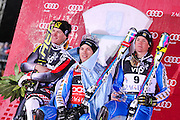 MYHRER Andre (SWE) - winner, KOSTELIC Ivica (CRO) - 2nd place, HARGIN Mattias (SWE) - 3rd place, 06/01/2011, VIP Snow queen trophy, AUDI FIS Ski World Cup men slalom, snow king