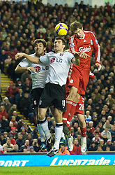 LIVERPOOL, ENGLAND - Saturday, November 22, 2008: Liverpool's Daniel Agger in action against Fulham during the Premiership match at Anfield. (Photo by David Rawcliffe/Propaganda)