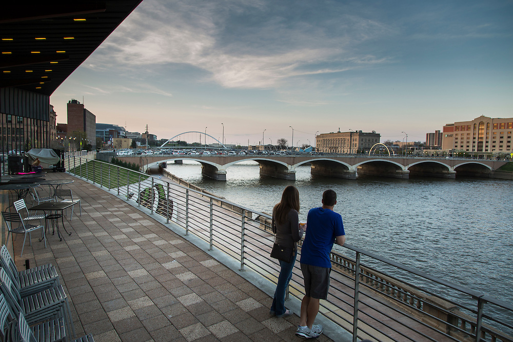 The Riverwalk Hub in downtown Des Moines, Iowa, on April 16, 2015.