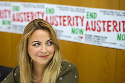 © Licensed to London News Pictures. 04/06/2015. Singer and activist CHARLOTTE CHURCH takes part in a panel press conference at the Unite Union building in London, ahead of an anti-austerity demonstration on June 20th. London, UK. Photo credit: Ben Cawthra/LNP