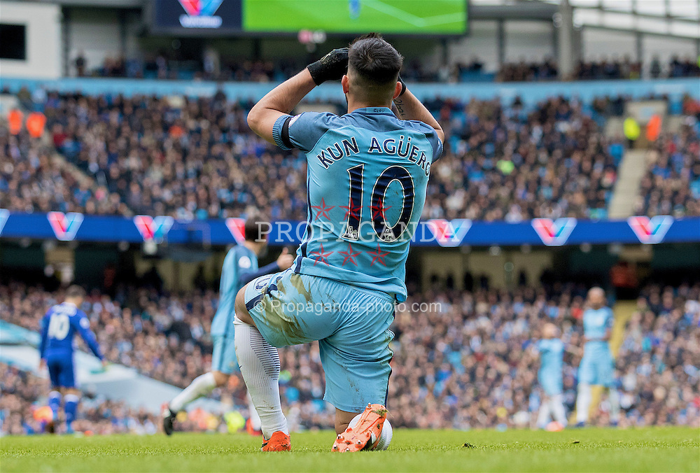 MANCHESTER, ENGLAND - Saturday, December 3, 2016: Manchester City's Sergio Aguero rues missed chance action against Chelsea during the FA Premier League match at the City of Manchester Stadium. (Pic by Gavin Trafford/Propaganda)