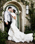 Bride and groom at Kauffman gardens in kansas city, during a summer wedding