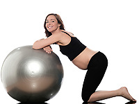 pregnant caucasian woman swiss ball fitness isolated studio on white background