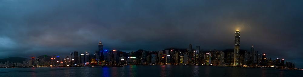 Asia, Southeast, People's Republic of China, Hong Kong, A panorama of Hong Kong island from Kowloon peninsula (Tsim Sha Tsui).