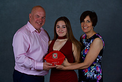 NEWPORT, WALES - Saturday, May 19, 2018: Grace Godwin and family during the Football Association of Wales Under-16's Caps Presentation at the Celtic Manor Resort. (Pic by David Rawcliffe/Propaganda)