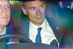 © Licensed to London News Pictures. 16/06/2019. London, UK. Foreign Secretary Jeremy Hunt is driven in for the first televised debate between Conservative Party leadership contenders. Frontrunner Boris Johnson has said that he will not take part in the Channel 4 debate. Photo credit: Rob Pinney/LNP
