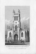 Saint Mark the Evangelist church Pentonville, engraving from 'Metropolitan Improvements, or London in the Nineteenth Century' London, England, UK 1828