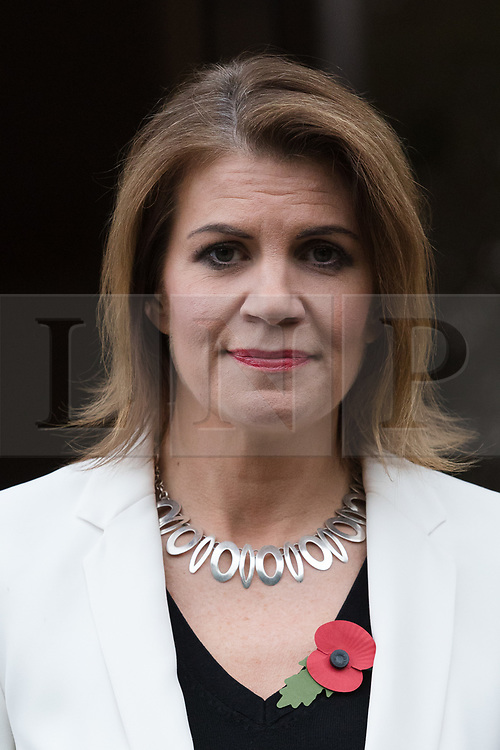 © Licensed to London News Pictures. 02/11/2017. LONDON, UK.  JULIA HARTLEY-BREWER leaving Talk Radio station in London today after her radio show. Former Defence Secretary, Michael Fallon admitted touching Julia Hartley-Brewer's knee inappropriately and resigned yesterday, 1st November after telling Prime Minister there could be further revelations about his conduct with women.  Photo credit: Vickie Flores/LNP