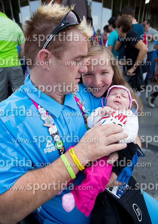 Henrik Plank of Team Slovenia with his daughter and wife  at arrival to Airport Joze Pucnik after the London 2012 Paralympic Games on September 10, 2012, in Brnik, Slovenia. (Photo by Vid Ponikvar / Sportida.com)