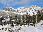 Snowshoe at Kendall Peak Lake, near Snoqualmie Pass, Washington, USA