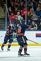 KELOWNA, BC - DECEMBER 27:  Orrin Centazzo #19 and Connor Zary #18 of the Kamloops Blazers celebrate a first period goal against the Kelowna Rockets at Prospera Place on December 27, 2019 in Kelowna, Canada. (Photo by Marissa Baecker/Shoot the Breeze)