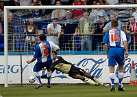 Photo: Jed Wee.<br />Hartlepool United v Swindon Town. Coca Cola League 2.<br />05/08/2006.<br /><br />Swindon goalkeeper Petr Brezovan dives to save a penalty from Hartlepool's Joel Porter.