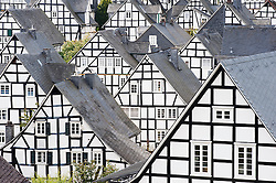 Many half-timbered old houses in Freudenberg village in Sauerland Germany