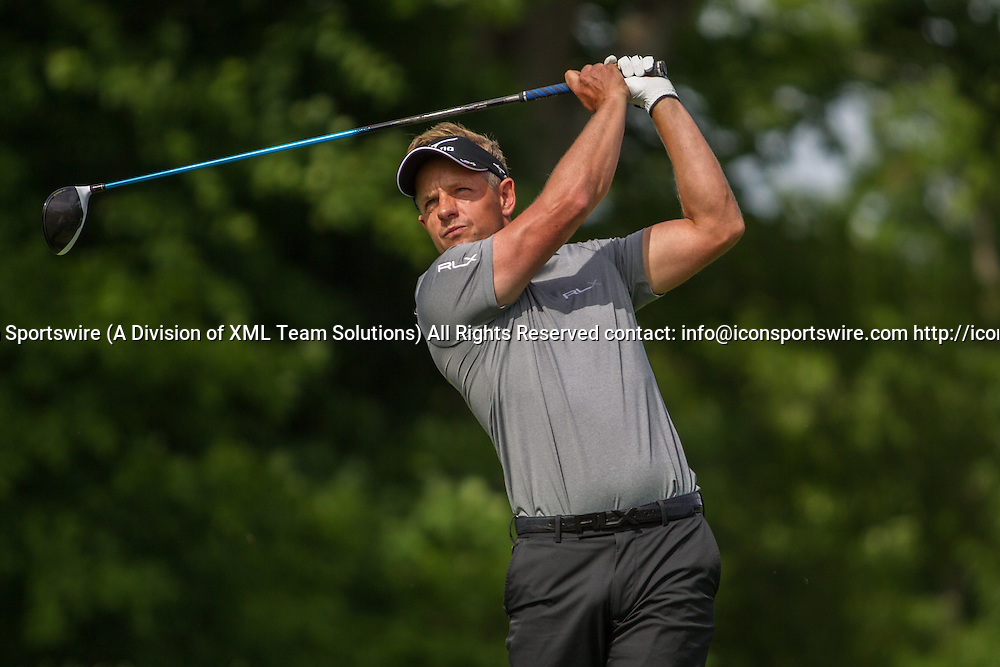 June 03, 2016: Luke Donald tees off during the Second Round of the Memorial Tournament presented by Nationwide at Muirfield Village Golf Club in Dublin, OH. (Photo by Michael Griggs/Icon Sportswire)