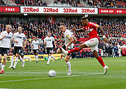 Middlesbrough forward Britt Assombalonga (9) shoots during the EFL Sky Bet Championship match between Middlesbrough and Swansea City at the Riverside Stadium, Middlesbrough, England on 22 September 2018.