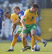 Birmingham - Saturday March 21st, 2009: Sebastian Larsson of Birmingham City is challenged by Alan Lee and Ryan Bertrand of Norwich City during the Coca Cola Championship match at St Andrews, Birmingham. (Pic by Alex Broadway/Focus Images)