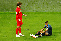 SAINT PETERSBURG, RUSSIA - JULY 10: Kylian Mbappe (R) of France national team and Marouane Fellaini of Belgium national team react during the 2018 FIFA World Cup Russia Semi Final match between France and Belgium at Saint Petersburg Stadium on July 10, 2018 in Saint Petersburg, Russia. MB Media