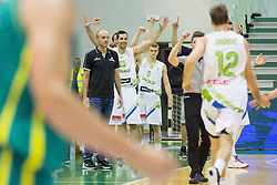 Jure Zdovc, head coach of Slovenia, Mitja Nikolic of Slovenia, Luka Rupnik of Slovenia react during friendly basketball match between National teams of Slovenia and Australia, on August 3, 2015 in Arena Tri lilije, Lasko, Slovenia. Photo by Vid Ponikvar / Sportida