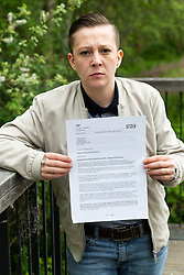 """Oliver Norris, 28, who received a letter from the NHS advising him to get tested for HIV and Hepatitis C and B following treatment at Dentality @ Hoddesdon, Hertfordshire, following the dismissal of """"A former self employed, independently contracted hygienist [who] was immediately dismissed following an investigation into failure to abide by strict decontamination protocols for dental instruments"""". London, May 05 2019."""