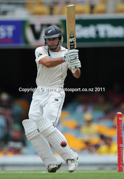 Dean Brownlie batting on Day 4 of the first cricket test between Australia and New Zealand Black Caps at the Gabba in Brisbane, Sunday 4 December 2011. Photo: Andrew Cornaga/Photosport.co.nz