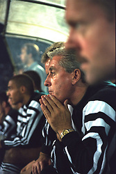 VLADIKAVKAZ, RUSSIA - Tuesday, September 12, 1995: Liverpool's manager Roy Evans on the bench against FC Alania Spartak Vladikavkaz during the UEFA Cup 1st Round 1st Leg match at Republican Spartak Stadium. (Photo by David Rawcliffe/Propaganda)