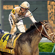 Calvin Borel and Super Saver win the 136th running of the Kentucky Derby at Churchill Downs Saturday May 1, 2010. Photo by David Stephenson