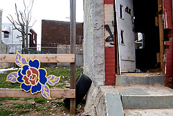 Signs of squatting and illegal occupation are found inside a vacant residential structure on East Somerset Street, in the Kensington neighborhood of Philadelphia, PA, on March 25, 2018. (Bastiaan Slabbers for WHYY)