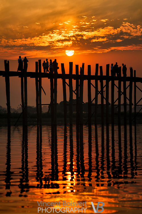 sunset on the U Bein Bridge, mandalay, myanmar