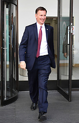 © Licensed to London News Pictures. 12/07/2019. London, UK. Conservative Party leadership candidate JEREMY HUNT is seen leaving an interview in Westminster, London. Later this month the Conservative Party will select a new leader and Prime Minister, following Theresa May's announcement that she will step down. Photo credit: Ben Cawthra/LNP