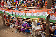 an estimated 20,000 people are packed into the make shift tents as Rahul Gandhi gives his speech at the congress party rally for the Lok Sabha elections of 2009 in Pripariya town of Hoshangabad, in Madhya Pradesh state, India on 21st of April 2009.   Photo by Suzanne Lee for The National.