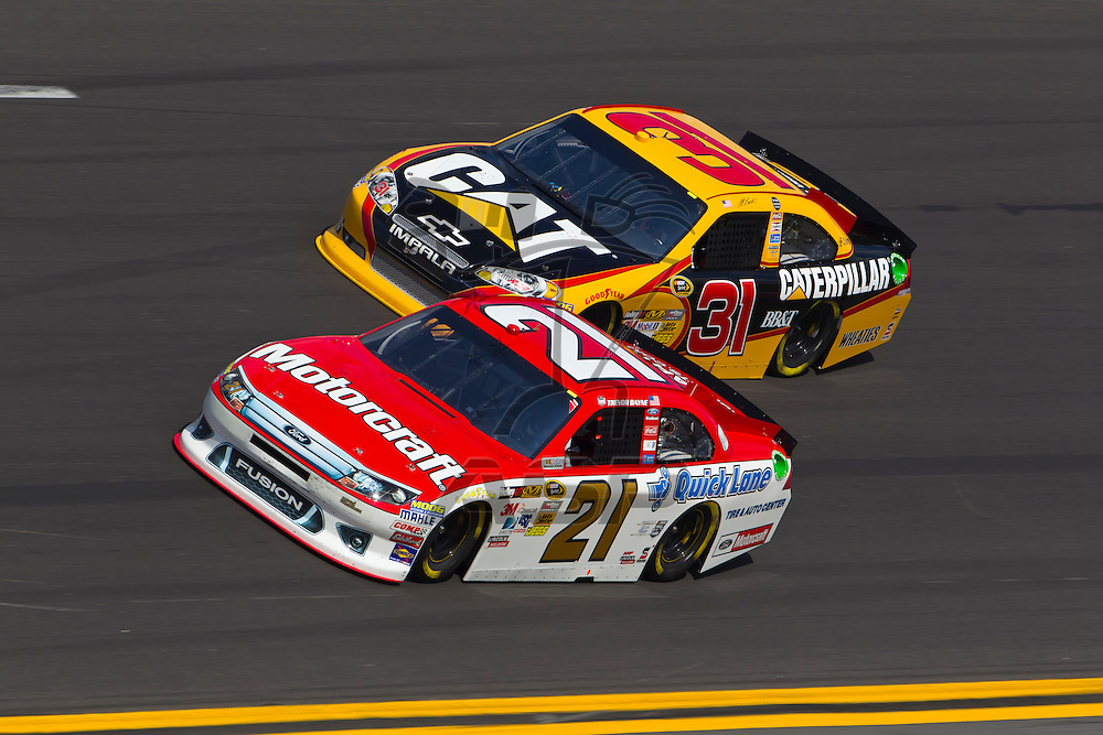 Daytona Beach, FL - Feb 23, 2012:  The NASCAR Sprint Cup teams take to the track for the Gatorade Duel 1race at the Daytona International Speedway in Daytona Beach, FL.