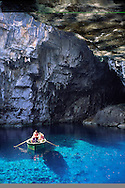 Tourists in boat on the lake in the Melissani Cave, Kefalonia Greece....travel, lifestyle