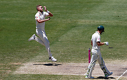 England's Stuart Broad bowls during day four of the Ashes Test match at Sydney Cricket Ground.