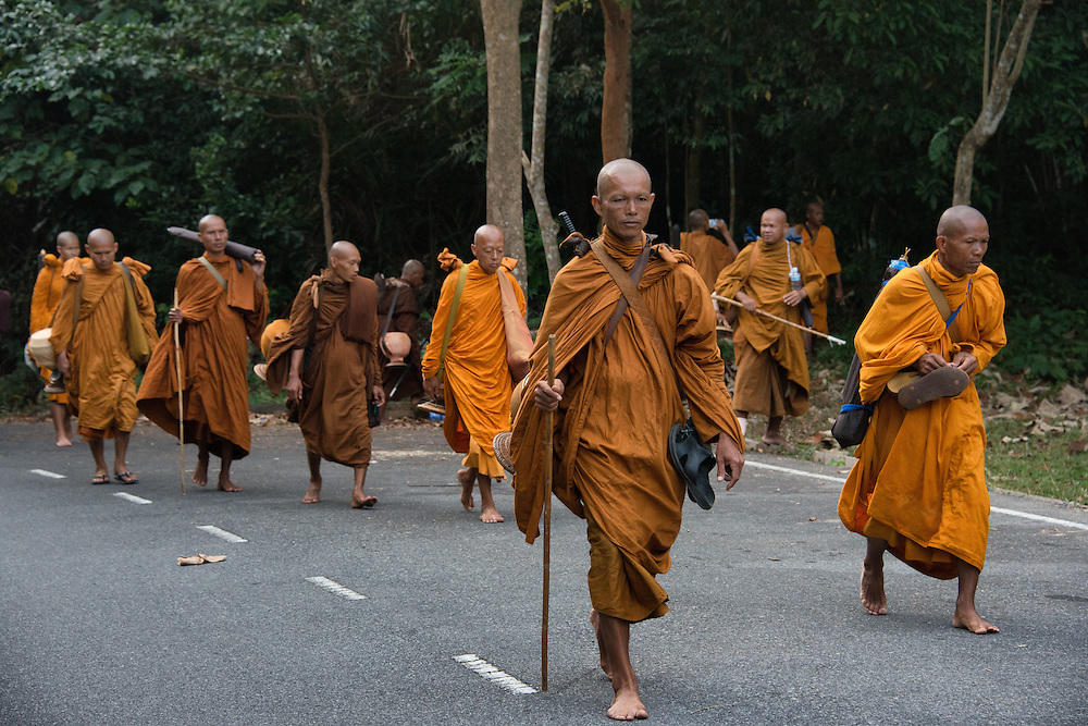 100 Monks trek through the Khao Yai mountains, on a journey across Thailand to make merit.