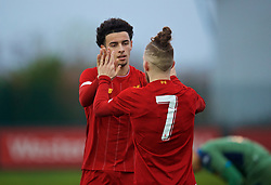 KIRKBY, ENGLAND - Wednesday, November 27, 2019: Liverpool's captain Curtis Jones (L) celebrates scoring the fourth goal with team-mate Harvey Elliott during the UEFA Youth League Group E match between Liverpool FC Under-19's and SSC Napoli Under-19's at the Liverpool Academy. (Pic by David Rawcliffe/Propaganda)