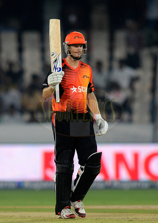 Adam Voges captain of Perth Scorchers acknowledges teammates after scoring a half century during match 10 of the Oppo Champions League Twenty20 between the Kolkata Knight Riders and the Perth Scorchers held at the Rajiv Gandhi Cricket Stadium, Hyderabad, India on the 24th September 2014<br /> <br /> Photo by:  Pal Pillai / Sportzpics/ CLT20<br /> <br /> <br /> Image use is subject to the terms and conditions as laid out by the BCCI/ CLT20.  The terms and conditions can be downloaded here:<br /> <br /> http://sportzpics.photoshelter.com/gallery/CLT20-Image-Terms-and-Conditions-2014/G0000IfNJn535VPU/C0000QhhKadWcjYs