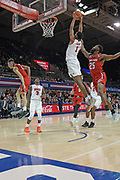 SMU Mustangs forward Feron Hunt (1) catches the alley oop pass for the dunk while being guarded by Hartford Hawks guard Traci Carter (25) and  D.J. Mitchell (2). Kendric Davis (3) and Ethan Chargois (25) await the rebound during an NCAA college basketball game, Wednesday, Nov. 27, 2019, in Dallas.SMU defeated Hartford 90-58. (Wayne Gooden/Image of Sport)