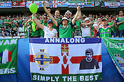 Northern Ireland fans with George Best flag during the Euro 2016 match between Poland and Northern Ireland at the Stade de Nice, Nice, France on 12 June 2016. Photo by Phil Duncan.