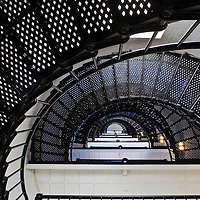 Interior image of the spiral staircase leading to the top of the St. Augustine Lighthouse, built in 1874, Anastasia Island, St. Augustine, Florida