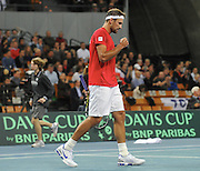 Lukasz Kubot of Poland competes during first day the BNP Paribas Davis Cup 2013 between Poland and Slovenia at Hala Stulecia in Wroclaw on February 1st, 2013..Photo by: Piotr Hawalej