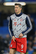Bayern Munich forward Robert Lewandowski (9) warming up before the Champions League match between Chelsea and Bayern Munich at Stamford Bridge, London, England on 25 February 2020.