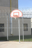 An outside basketball court is seen in the yard as media members tour the newest prison in Pennsylvania Friday, September 01, 2017 at State Correction Institution Phoenix in Skippack, Pennsylvania. The facility is inching closer to opening, two years late, to replace Graterford Prison at a cost of $400 million. (Photo by William Thomas Cain/CAIN IMAGES)