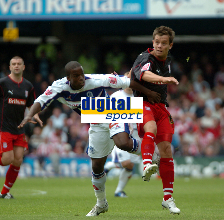 Photo: Tony Oudot.<br /> Queens Park Rangers v Stoke City. Coca Cola Championship. 06/05/2007.<br /> Lee Hendrie of Stoke City challenges Stefan Bailey of Queens Park Rangers