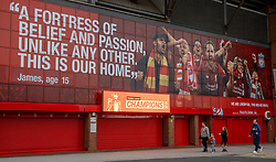 "LIVERPOOL, ENGLAND - Monday, June 29, 2020: ""Premier League Champions"" seen displayed on an electronic bill board at Liverpool FC's Anfield Stadium after the team won the FA Premier League, their 19th top-flight Championship and the club's first title in 30 years. (Pic by David Rawcliffe/Propaganda)"
