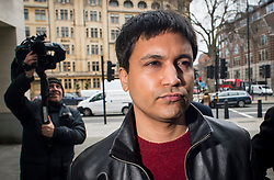 "© Licensed to London News Pictures. 23/03/2016. London, UK.""Flash crash"" Trader NAVINDER SINGH SARAO arrives at Westminster Magistrates court in London where Judgment in his extradition hearing is due to be given. Sarao, nicknamed the Hound of Hounslow, is accused of contributing to the 2010 flash crash. He has been charged with 22 counts of fraud and market manipulation by the US authorities who want to extradite him. Photo credit: Ben Cawthra/LNP"