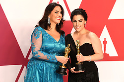 "Melissa Berton and Rayka Zehtabchi, winners of the Best Documentary Short Subject Awards for ""Period. End Of Sentence"" at the 91st Annual Academy Awards (Oscars) presented by the Academy of Motion Picture Arts and Sciences.<br /> (Hollywood, CA, USA)"