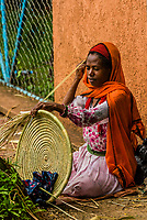 Women weaving mesob baskets, <br /> Bahir Dar, Ethiopia.